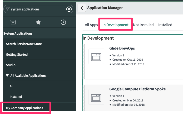Navigate to My Company Applications and the In-Development tab