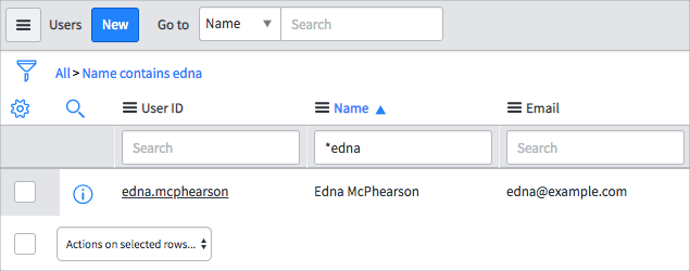 Use asterisk edna in the search to find users that contain edna.