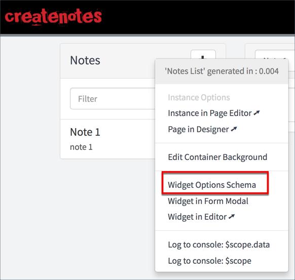 Widget Option Schema | ServiceNow Developers