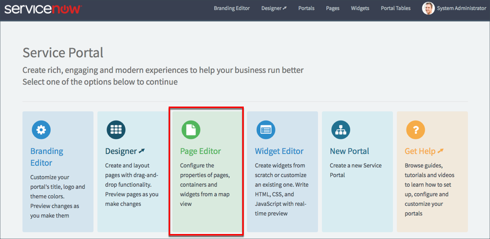 Page Editor | ServiceNow Developers