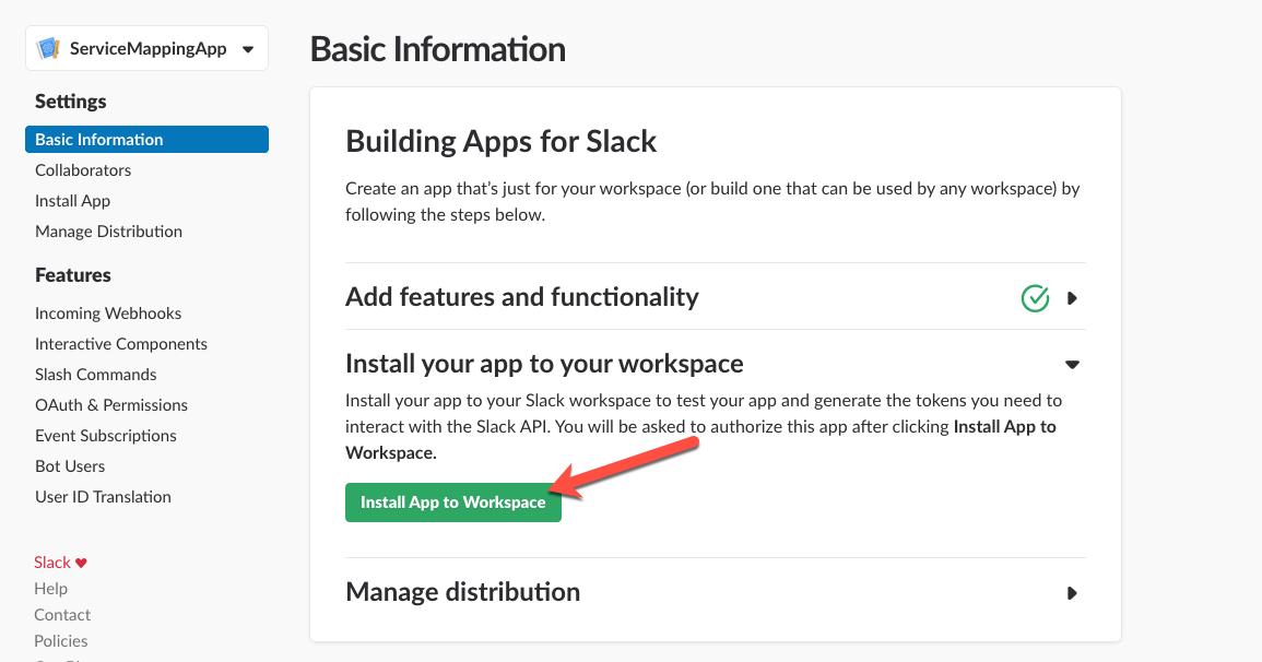 Create Slack App and a Slash command to invoke Service