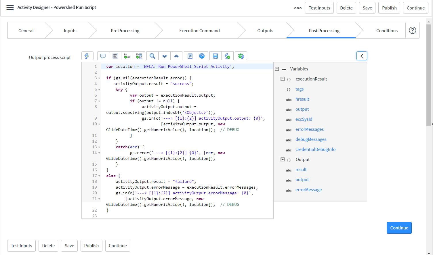 Create Custom PowerShell Script Activity   ServiceNow Developers